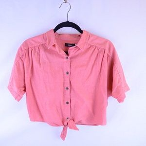 BDG Jena Tie Front Cropped Blouse Red Small
